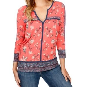 NWT! Lucky Brand Border Basic Print Top Red Multi